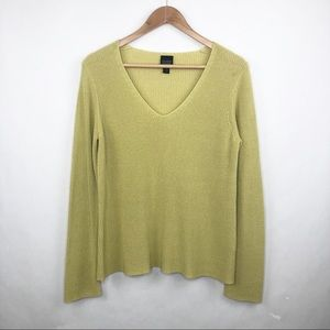 Eileen Fisher Green V-Neck Pullover Sweater Size S